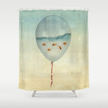 balloon fish Shower Curtain by Vin Zzep
