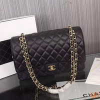 HCXX 19Sep 107 b Fashion Pop 1119 Maxi Classic Embossing Chain Flap Bag Casual Quilted Bag 33-22-10cm