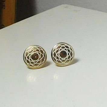 Small Clip On Earrings, White Earrings, Signed, LH Segal California, Round, Painted, Gold Tone, Never Worn Vintage Costume Jewelry,