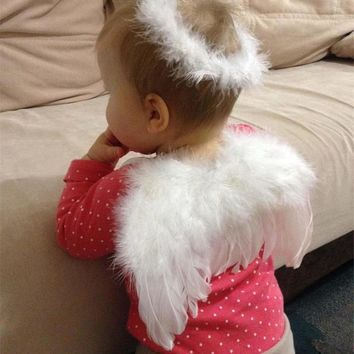 New Infant Newborn Photo Prop Baby Kids Angel Fairy Feather Wing Costume for Children's Christmas Party Decor 1set