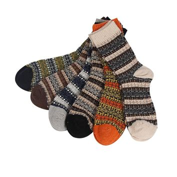 winter high quality men thick warm wool socks male vintage geometry patterns long cotton socks 6pairs/lot