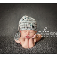 Baby Hat, Newborn Photo Prop Cute as a Button Stocking Baby Hat, Knit Baby Hat