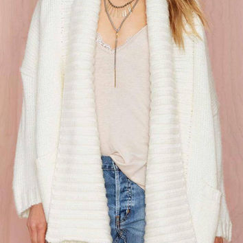 White Wide Lapel Knitted Cardigan