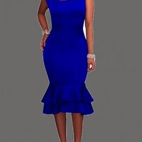 Royal Blue Double Ruffle Bodycon Plus Size Round Neck Party Maxi Dress