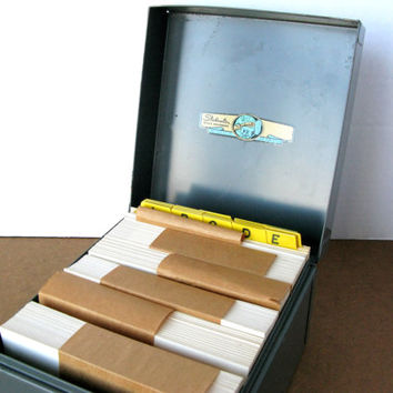 Vintage Metal File Box with Index Cards and A to Z Tab Dividers, Steelmaster Office Equipment, ASCO File Box