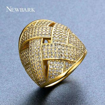 NEWBARK New Arrival Gold And Silver Color Rings Cubic Zirconia Copper Jewelry Fashion Nice Gifts Cocktail Ring For Women Wedding