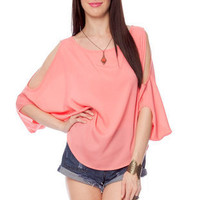 Batwing Cutout Top in Salmon :: tobi