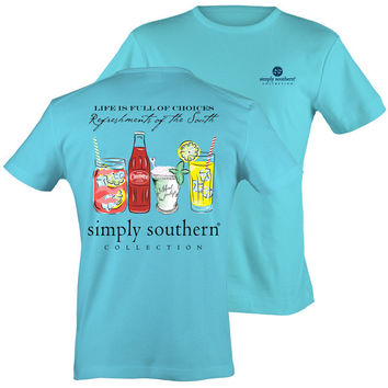 Simply Southern Refreshments From The South Sky Blue Bright T Shirt