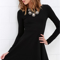 Black Long-Sleeve Knit Dress Back Zipper