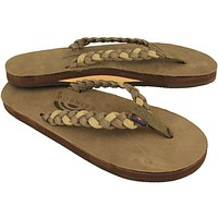 Women's Twisted Sister Single Layer Premier Leather Sandal Dark Brown and Sierra Brown by Rainbow Sandals