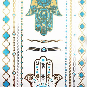 Hamsa Hand Metallic Temporary Tattoo [Turquoise Gold and Silver]