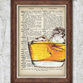 Vintage Scotch Art Dictionary Print Whisky Glass Vintage Art Bedroom Wall decor Home Gift Ideas Antique Dictionary Book Page Illustration