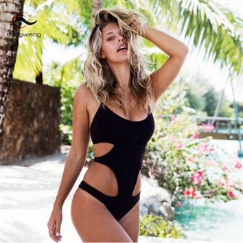 One Piece Monokini Hollow Out Thong Swimsuit Padded Push Up Bikini Sport Black Cut Out Bathing Suit