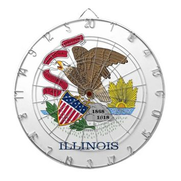Dartboard with Flag of Illinois, USA