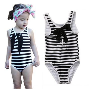 2017 Little Girls One-piece Zebra Striped Swimsuit Baby Girl Bowknot Swimwear Swimsuits Bathing Swimming Suit Costume