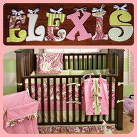 PINK PAISLEY SPLASH INSPIRED HAND PAINTED WOOD WALL LETTERS