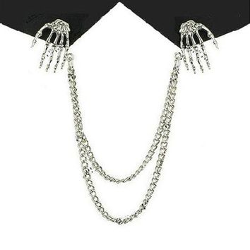 New Gothic Punk Skeleton Hand Bone Claw Skull Clothes Collar Clip Gold Silver Chain Brooch Pins Jewellery