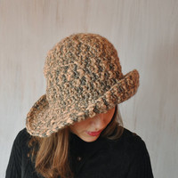 Beige-gray Hat, Women's Brimmed Hat, Handmade Hat, Yarn Crochet Hat, Floppy Hat, Flatter Hat, Winter Spring Hat, Impressive unique, OOAK