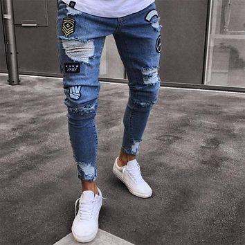 2018 Fashion Mens Skinny Jeans Rip Slim fit Stretch Denim Distress Frayed Biker Jeans Boys Embroidered Patterns Pencil Trousers