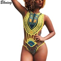 Bkning African Swimsuit One Piece Plus Size Swimwear Women Vintage