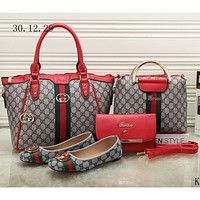 GUCCI new female counter models stylish four-piece Messenger bag F-KSPJ-BBDL red