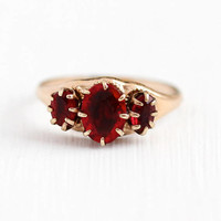 Antique Edwardian Ring - Rose Gold Filled Triple Red Glass Stone Jewelry - 1910s Size 7 Simulated Ruby Three July Birthstone Statement