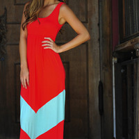 HOPE'S: Chevron Maxi Dress: Red/Mint | Hope's