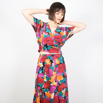 Vintage 80s Two Piece Set Matching Midi Skirt and Crop Top Draped V Neck Boho Floral Print Matching Outfit Ruffle Smocked Set XS S Small M