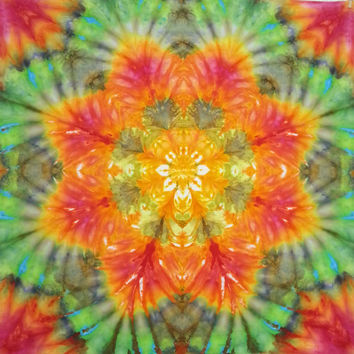 tie dye tapestry wall hanging mandala trippy orange green