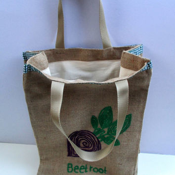 Beetroot, reusuable burlap market tote, farmers bag, chic, stylish, attactive