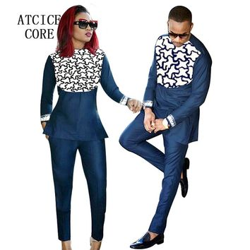 african clothing for men and women african bazin riche embroidery design Couple wear african clothes LC088-1