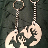 Laser Cut Mirrored Buck & Doe Interlocking Keychains   FREE SHIPPING