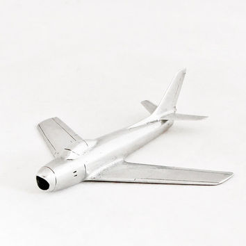 1950s Vintage Art Deco Airplane Mig 19 Soviet Aircraft Metal Industrial Home Decor