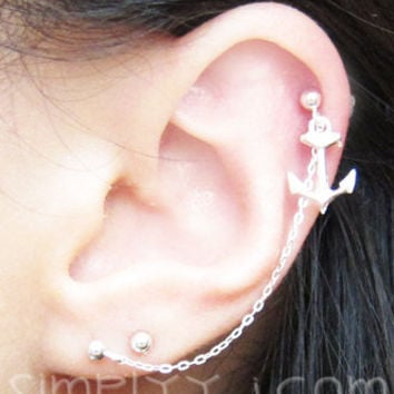 Sterling Silver Single Anchor Cartilage Double Piercing