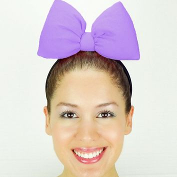Big Daisy Duck Bow Headband - Medium Purple