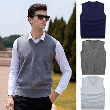 Hirigin 2017 Men Sleeveless Sweaters Knitted Warm Wool V Neck Sweaters Fashion Solid Autumn Vest Outwear Clothes Men Plus Size