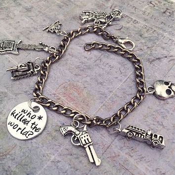 Who Killed The World Charm Bracelet, Fandom Jewelry, Fangirl Jewelry, We Are Not Things, Post Apocalyptic Jewelry