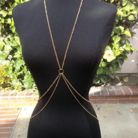Kays Gold Double Layer Body Chain Harness Jewelry Necklace