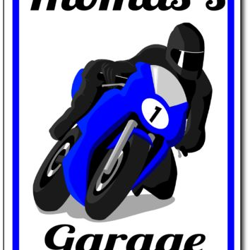 Motorcycle Racing Garage Sign Sublimation Printed Sign/Personalized Sign/Man Cave/Family Sign