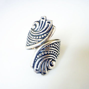 Taxco Sterling Bypass Ring 925 Silver AAB Mexico Scrolled Art Deco Design Vintage Jewelry