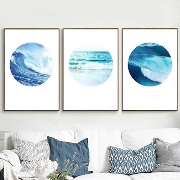 Watercolor Sea Waves Landscape Wall Art Canvas Painting Poster And Prints Nordic Poster Wall Pictures For Living Room Home Decor