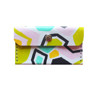 Modern Geometric Hexagon Leather Wallet in Black and Pastel Pink and Mint Card Holder Pouch | Boo and Boo Factory - Handmade Leather Jewelry