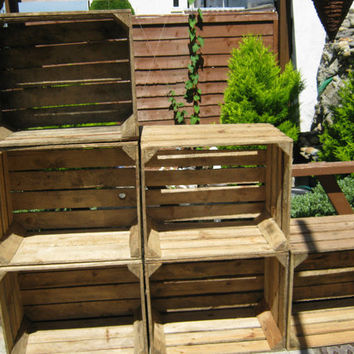 6 x Vintage Rustic European Wooden Apple Crates, ideal storage boxes box display crate bookshelf idea