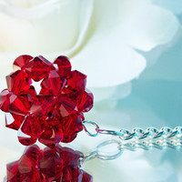 Crystal Ball Key Chain Swarovski Red Crystal Keychain Key Ring