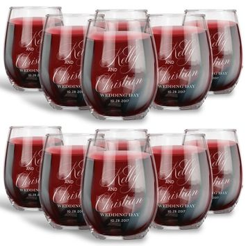 Wedding Gift for Guests, Personalized 15 oz. Stemless Wine Glass, Guest Gift | Wedding Favor 1-144 Pack Options