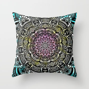 DETAILED CHARCOAL MANDALA (BLACK AND WHITE) WITH COLOR (PINK YELLOW TEAL) Throw Pillow by AEJ Design