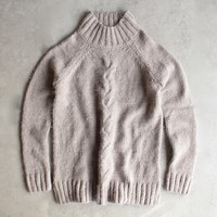 minkpink - now & then mock neck chunky knit sweater - light grey