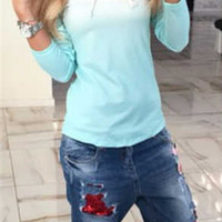 Ombre Round Neck Long Sleeve T-Shirt