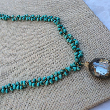 Long Turquoise Beaded Necklace, Translucent Pendant, Turquoise Pendant Necklace