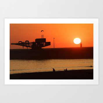 Sunset at Porto, Portugal Art Print by Charles Boisson